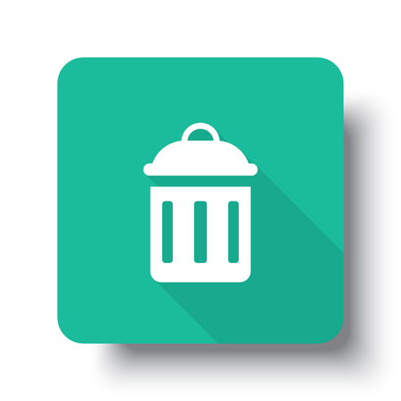 drop shadow: Flat white Delete web icon on green button with drop shadow