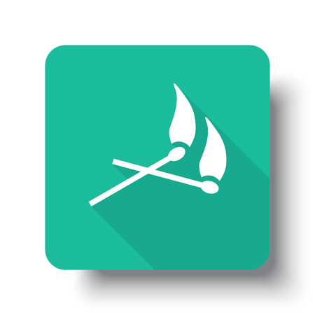 drop shadow: Flat white Matches web icon on green button with drop shadow