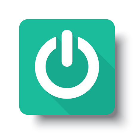 green power: Flat white Power web icon on green button with drop shadow