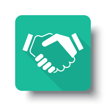 you are welcome: Flat white Handshake Agreement web icon on green button with drop shadow Illustration