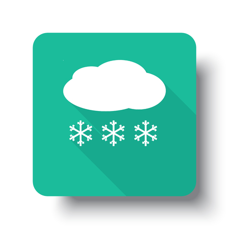 drop shadow: Flat white Snow web icon on green button with drop shadow Illustration