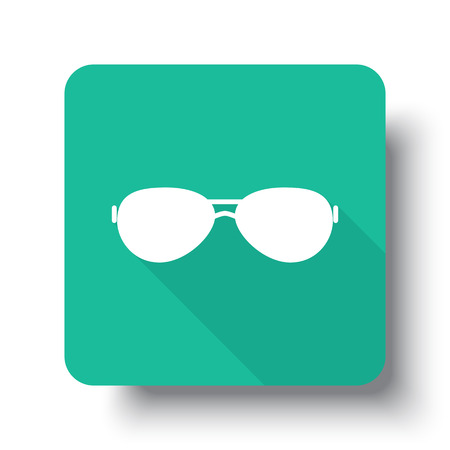 drop shadow: Flat white Sunglasses web icon on green button with drop shadow