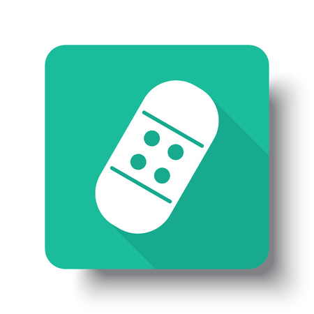 long recovery: Flat white Adhesive Bandage web icon on green button with drop shadow Illustration
