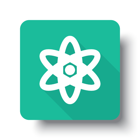 drop shadow: Flat white Nuclear web icon on green button with drop shadow