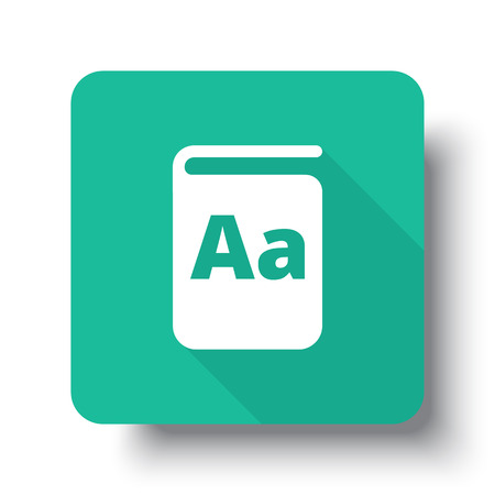 drop shadow: Flat white Text Book web icon on green button with drop shadow