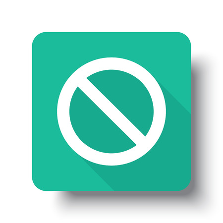 suppression: Flat white Forbidden web icon on green button with drop shadow