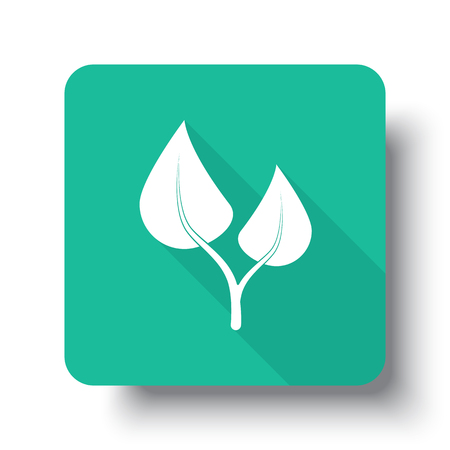 Flat white Medical Herbs web icon on green button with drop shadow