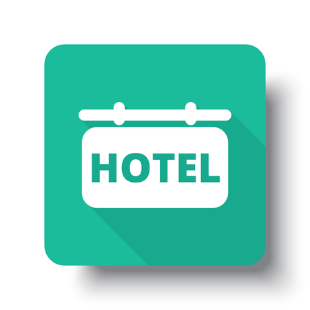 drop shadow: Flat white Hotel Sign web icon on green button with drop shadow Illustration