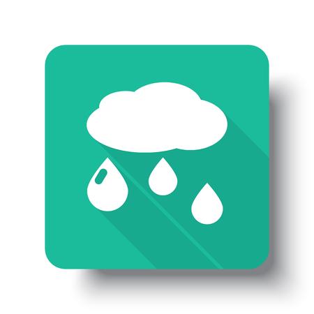 rain drop: Flat white Rain web icon on green button with drop shadow Illustration