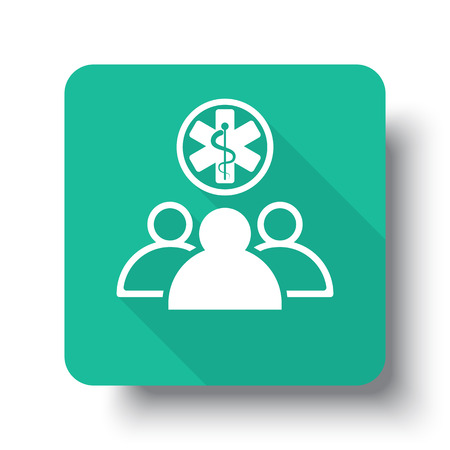 medical team: Flat white Medical Team web icon on green button with drop shadow Illustration
