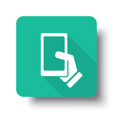 smartphone icon: Flat white Smartphone  web icon on green button with drop shadow