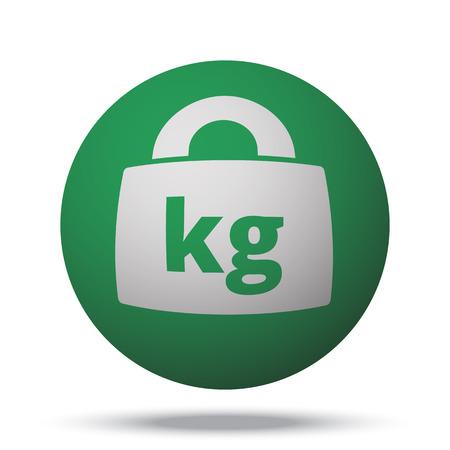 lbs: White Weight Kilograms web icon on green sphere ball Illustration