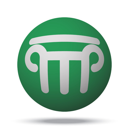 architectural styles: White Column web icon on green sphere ball