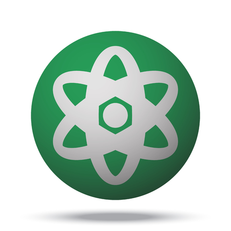 fission: White Nuclear web icon on green sphere ball Illustration