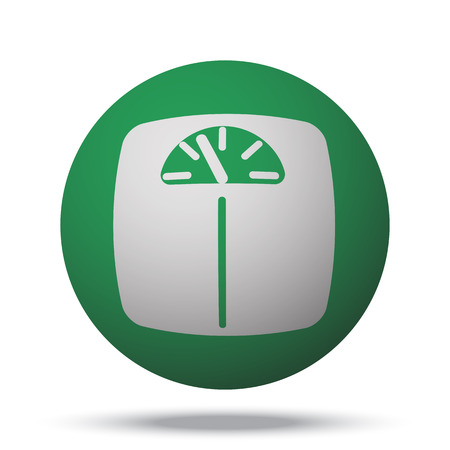 analog weight scale: White Personal Scale web icon on green sphere ball
