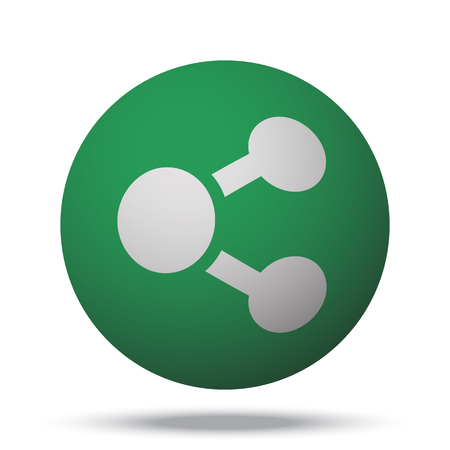 green button: White Share web icon on green sphere ball