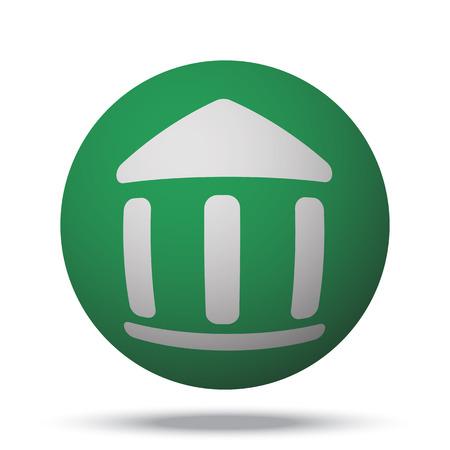 globe theatre: White Museum web icon on green sphere ball
