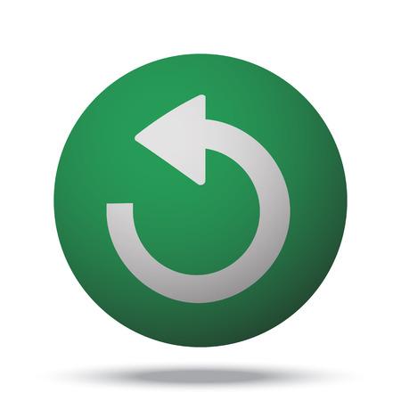 recover: White Undo web icon on green sphere ball