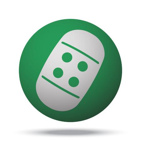 adhesive bandage: White Adhesive Bandage web icon on green sphere ball