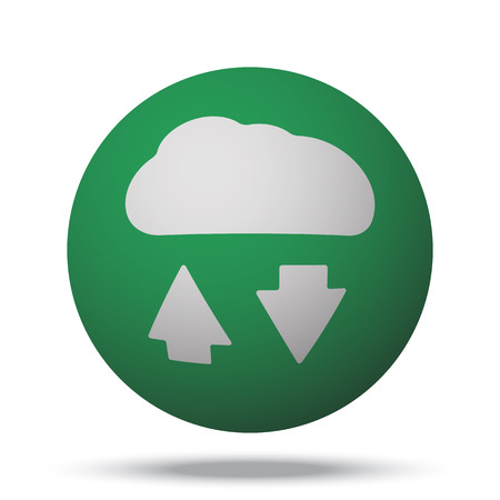 green computing: White Cloud Computing web icon on green sphere ball
