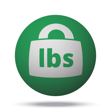 lbs: White Weight Pounds web icon on green sphere ball