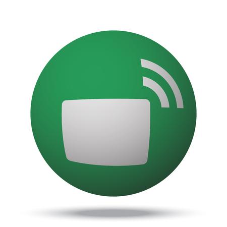 transmitter: White Transmitter web icon on green sphere ball