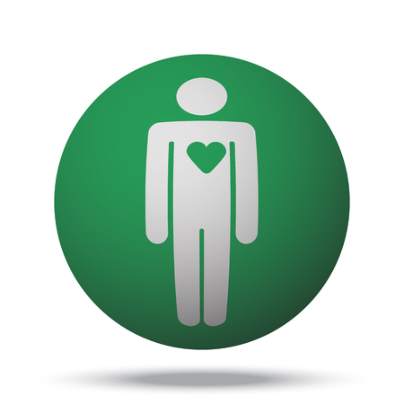 heart failure: White Heart web icon on green sphere ball Illustration