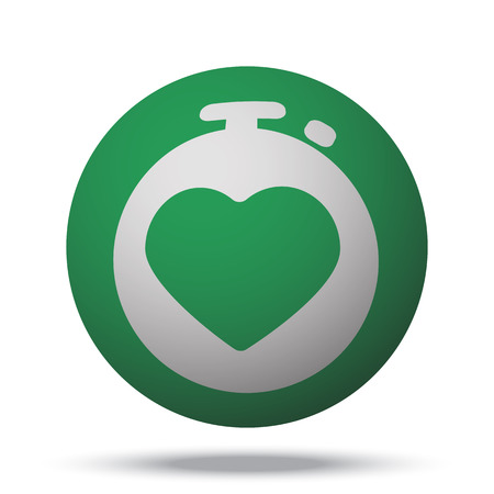 heart monitor: White Heart Rate Monitor web icon on green sphere ball