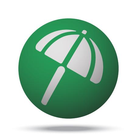parasol: White Parasol web icon on green sphere ball