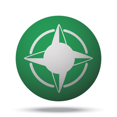 compass rose: White Compass Rose web icon on green sphere ball Illustration