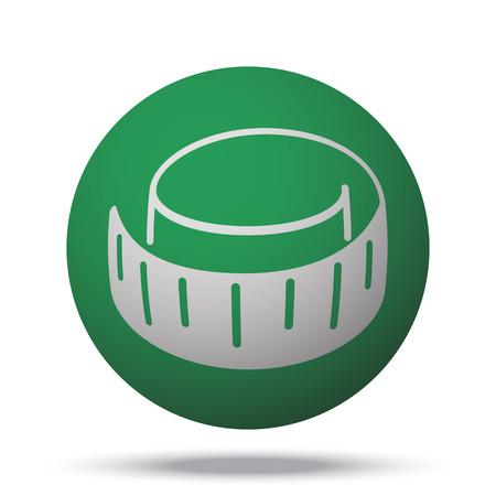 cintas metricas: White Measuring Tape web icon on green sphere ball Vectores