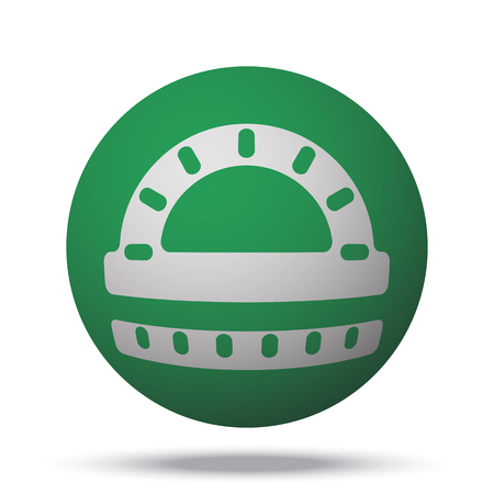 protractor: White Protractor Ruler web icon on green sphere ball Illustration