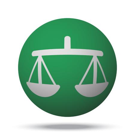 balance ball: White Balance web icon on green sphere ball