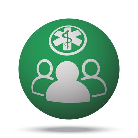 medical team: White Medical Team web icon on green sphere ball Illustration