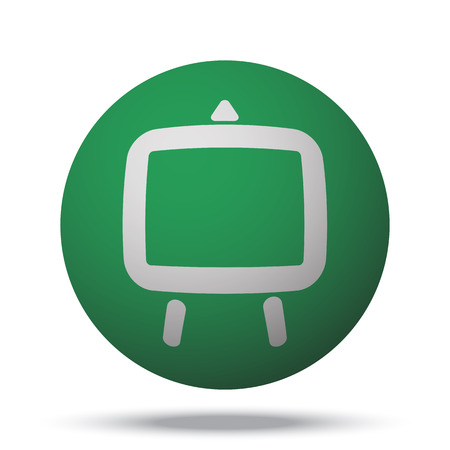 easel: White Easel web icon on green sphere ball