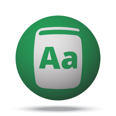 reading app: White Text Book web icon on green sphere ball