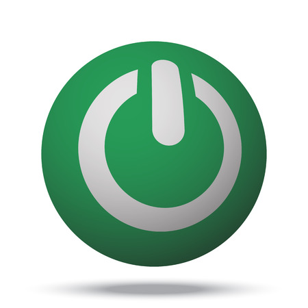 green power: White Power web icon on green sphere ball