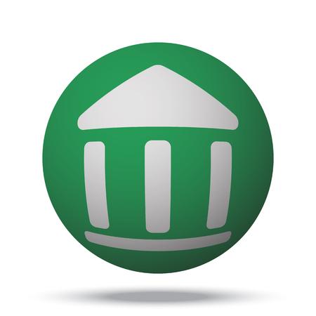 globe theatre: White Institution web icon on green sphere ball