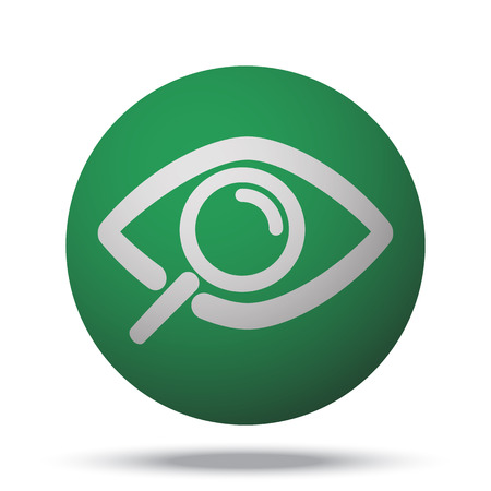 White Observation web icon on green sphere ball