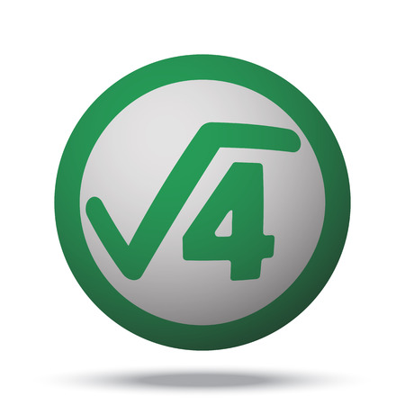 square root: White Square Root web icon on green sphere ball