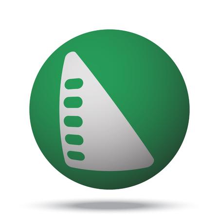 set square: White Set Square web icon on green sphere ball