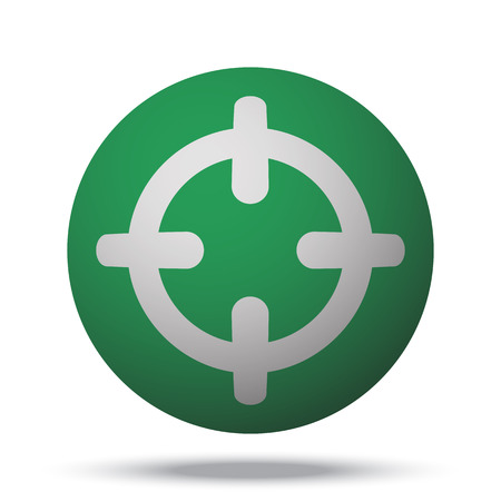Scope: White Scope web icon on green sphere ball Illustration