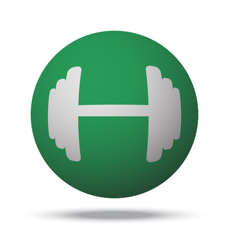 lifting globe: White Dumbbell web icon on green sphere ball