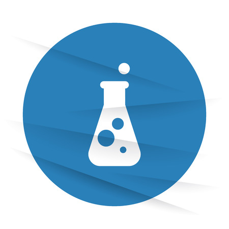 conical: White Conical Flask icon label on wrinkled paper