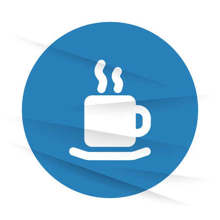 wrinkled paper: White Coffee icon label on wrinkled paper Illustration
