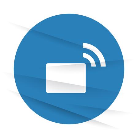 transmitter: White Transmitter icon label on wrinkled paper Illustration