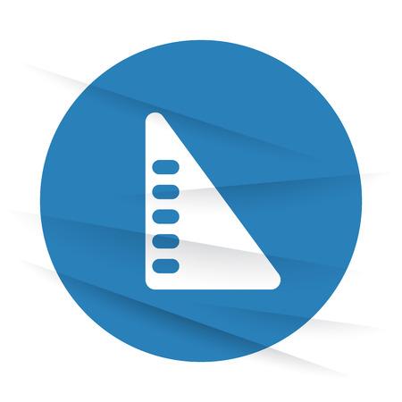 set square: White Set Square icon label on wrinkled paper