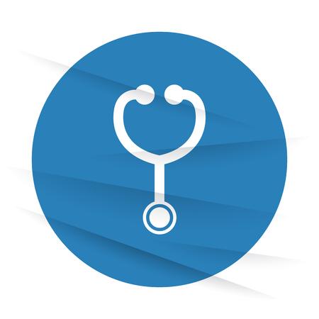 wrinkled paper: White Stethoscope icon label on wrinkled paper Illustration