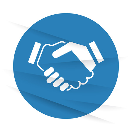 signing papers: White Handshake Agreement icon label on wrinkled paper Illustration