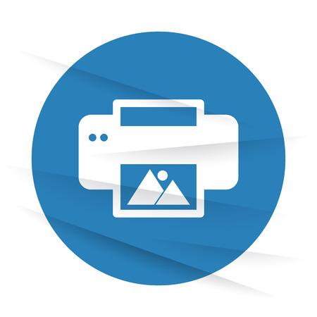 photo printer: White Photo Printing icon label on wrinkled paper